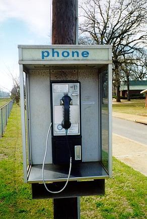 (a pay phone)
