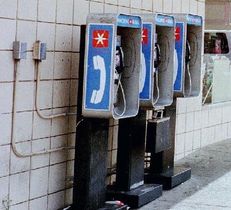 (3 pay phones)